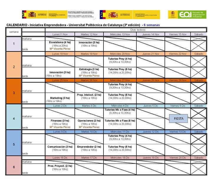 Calendari_Curs iniciativa emprenedora_Nov 2013
