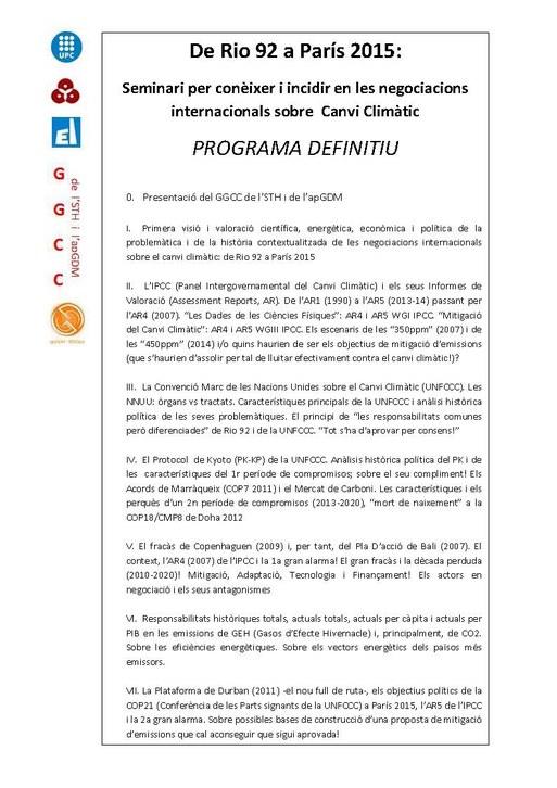 Seminari Canvi climàtic: programa