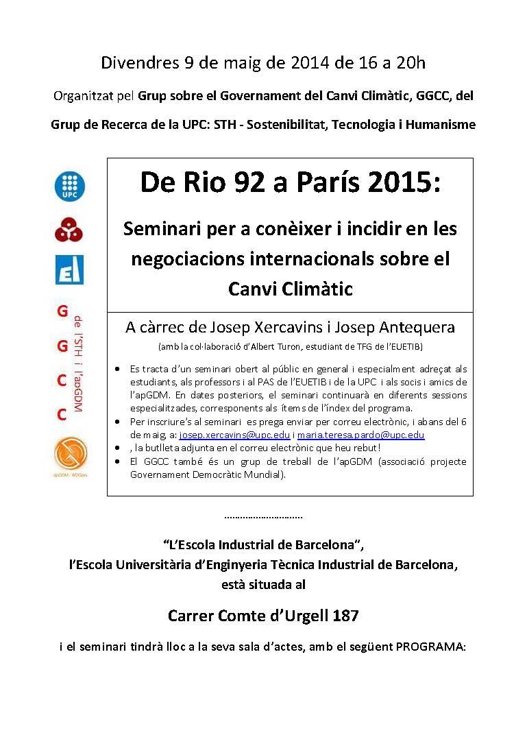 Seminari per a conèixer i incidir en les negociacions internacionals sobre el Canvi Climàtic
