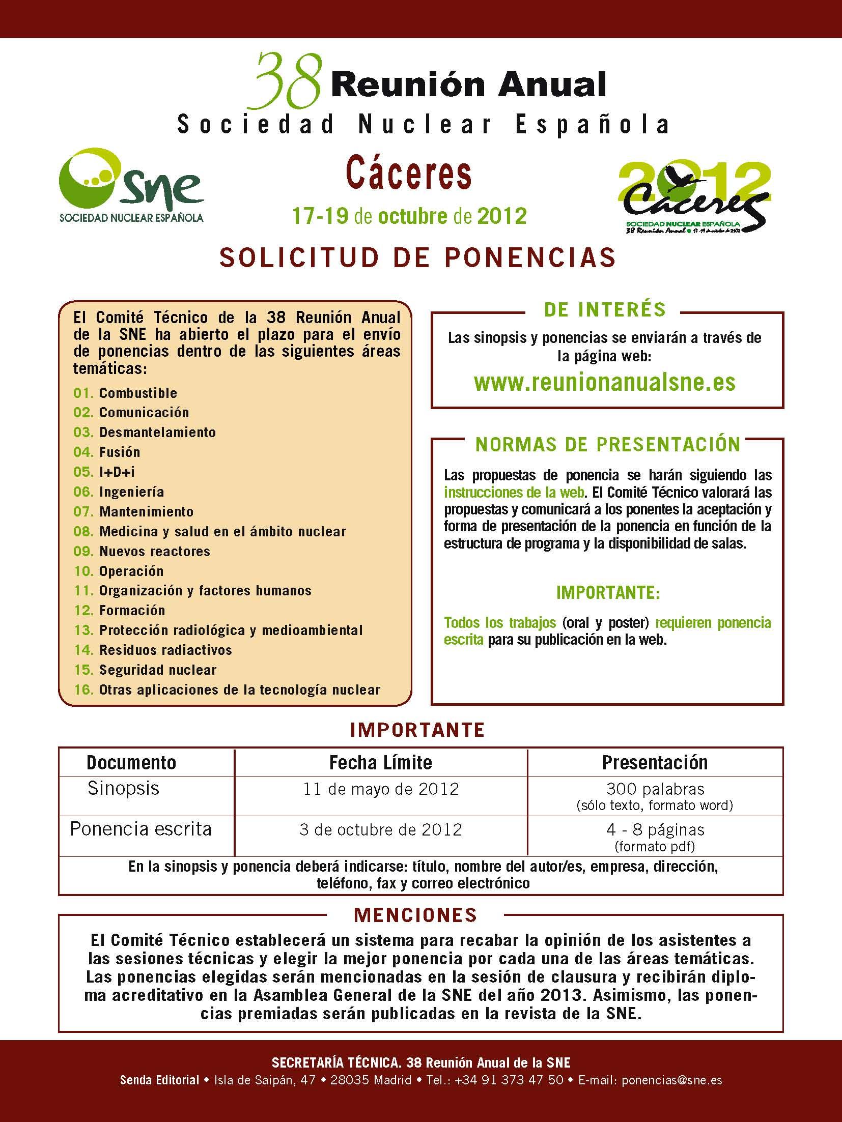 solicitud ponencias 38 Reunion Anual Sociedad NUCLEAR Española